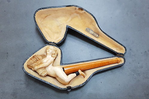 """Large Meerschaum & Amber Cigarette Holder """"Woman Holding Stack Of Straw"""""""