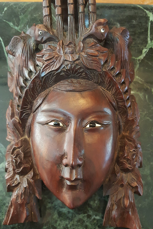 ANTIQUES CHINESE CARVED ROSE WOOD BONE EYES MASK