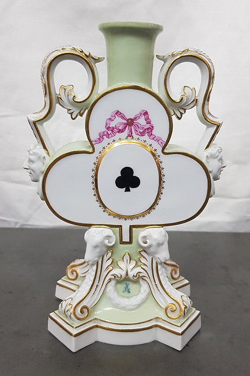Antique Meissen Playing Card Theme Candlestick Vase, Litchfield of London, 1876