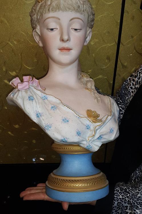 Antiques 19thC Large Dresden Porcelain Bust Figure