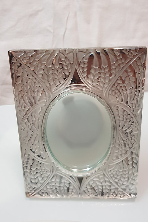 Antique Lalique France Frosted And Clear Glass Table Mirror
