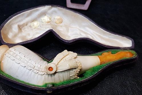 "Vintage Meerschaum & Amber Pipe Cigar Holder ""Woman Leg"""