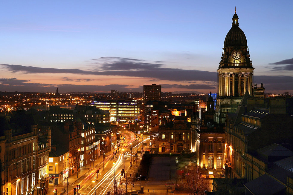 Leeds Headrow and Townhall at night