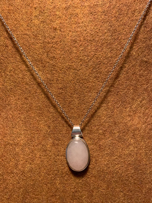 """Sterling Silver Genuine Rose Quartz – 22"""" silver chain"""