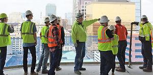 Students tour a jobsite