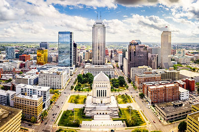 Aerial view of Indianapolis, Indiana sky
