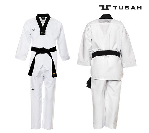 Tusah Black V Neck uniform - WT Approved Dobok