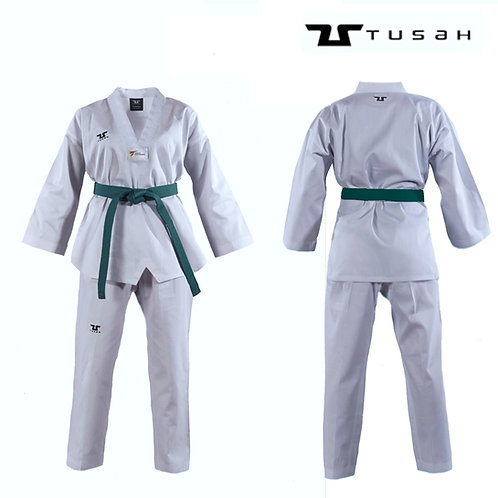 Tusah White V Neck uniform - WT Approved Dobok