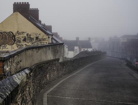 Morning mist. Derry City Wall next to Magazine Street