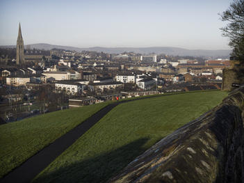 View from the Royal Parade. Derry City Wall