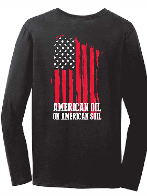 Men's Long Sleeve American Oil Flag - Black
