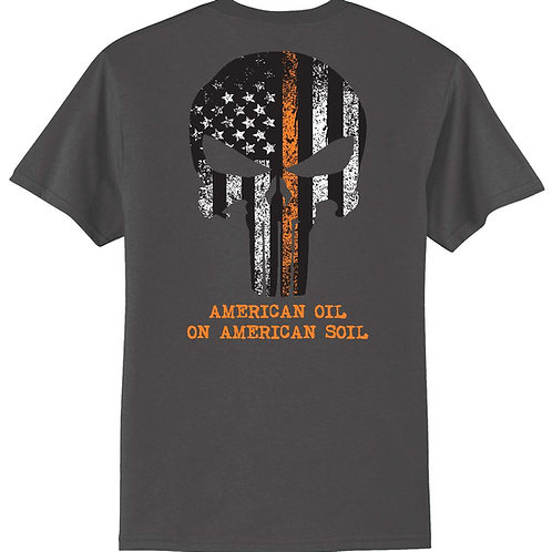 Men's Short Sleeve American Oil Skull - Charcoal