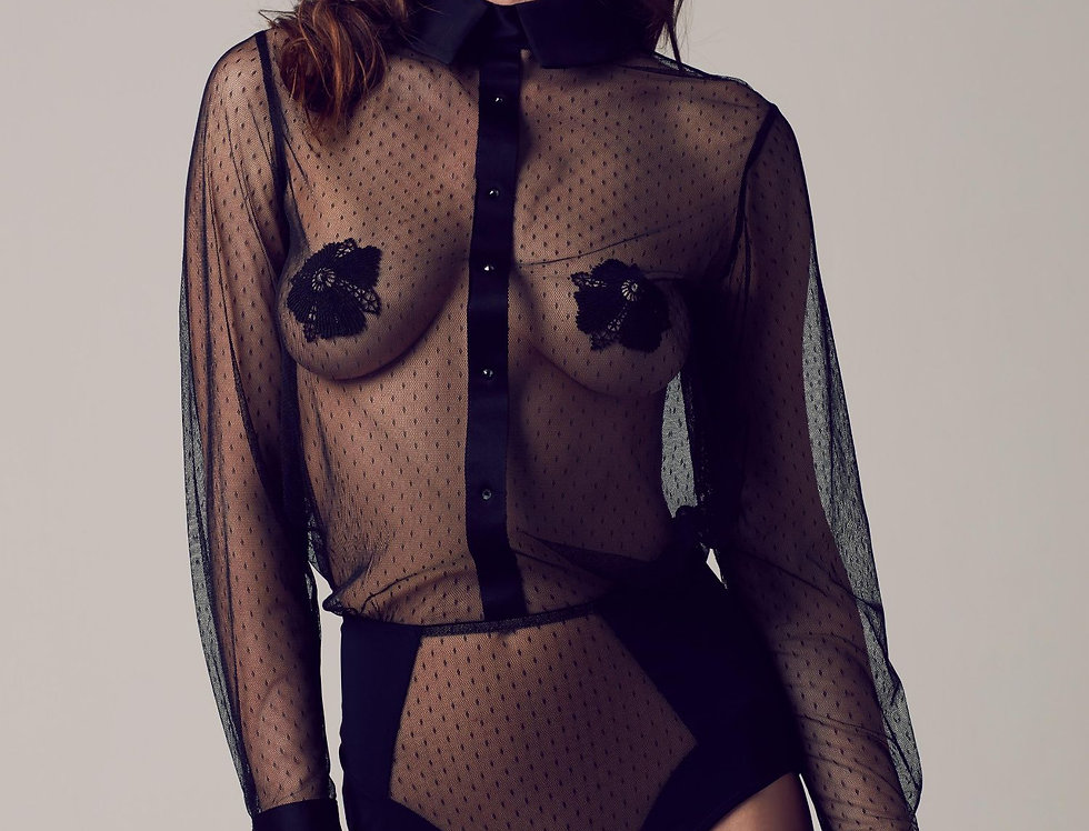 Nico Sheer Bodysuit Blouse Tatu Couture Killed in Action Lace Lingerie