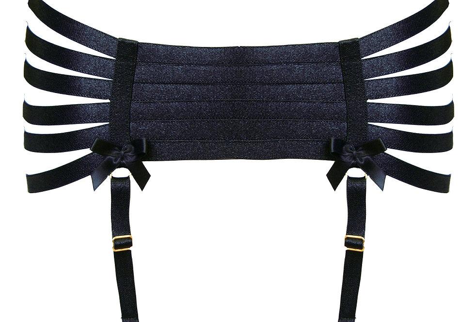 Luxury webbed suspender from Bordelle in Black