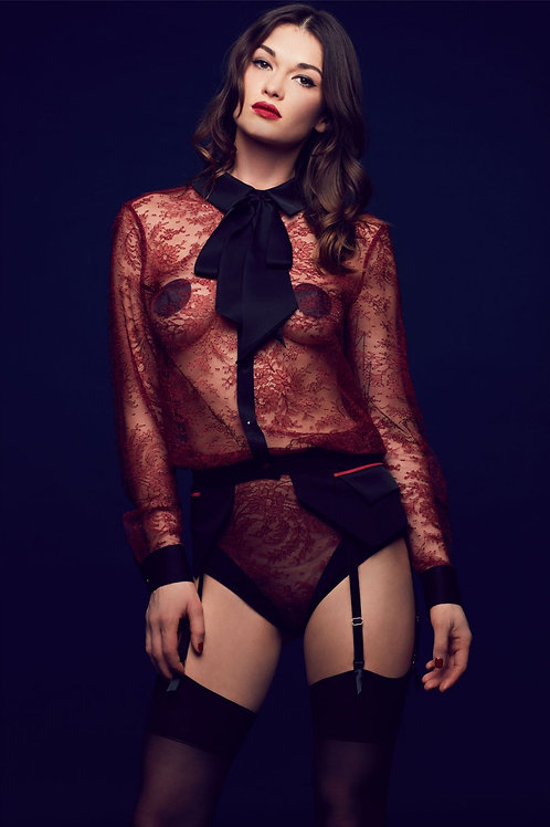 Lace Bodysuit Blouse Bow Celine Tatu Couture Killed in Action