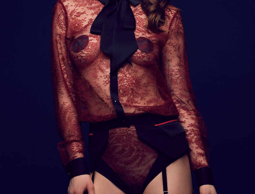 Lace Bodysuit Blouse Bow Celine Tatu Couture Killed in Action
