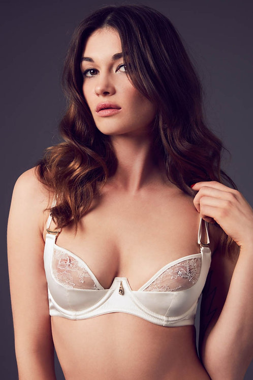 Xena Swarovski Plunge Bra Ivory Luxury Lingerie Killed in Action