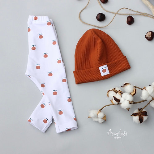 Orangen-Set, Leggins & Mütze