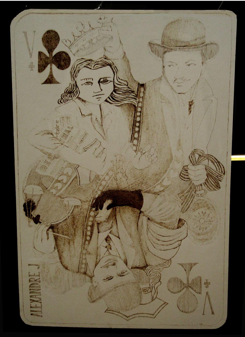 Alexandre J. pyrogravure sur carton 100x65cm 2019 Catherine OLIVIER