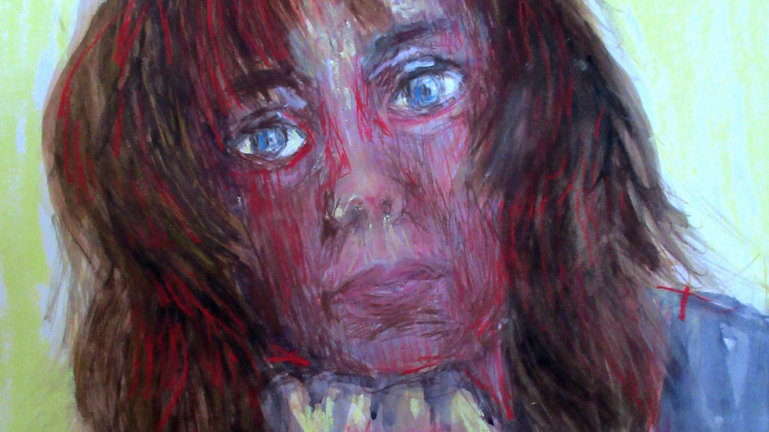 AutoAnalyseXI aquarelle, pastel sec 42x41cm 2019 Catherine OLIVIER