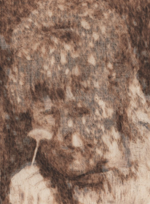 Projection IV' Catherine OLIVIER 2019 40x30cm pyrogravure sur toiles