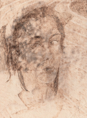 Projection II' Catherine OLIVIER 2019 40x30cm pyrogravure sur toiles