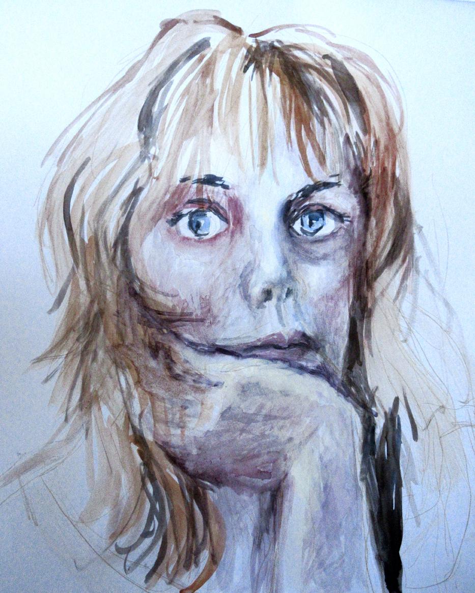 AutoAnalyse IX aquarelle,  gouache 40x41cm 2019 Catherine OLIVIER
