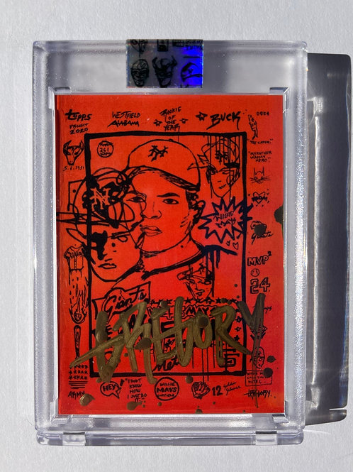 1952 Willie Mays by Gregory Siff - Gold Metallic Drip Autograph