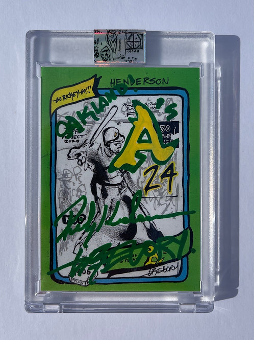 1980 Rickey Henderson by Gregory Siff - Green + Yellow Dual Autograph
