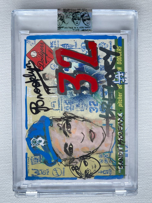1955 Sandy Koufax by Gregory Siff - Red Chrome + Blue Autograph
