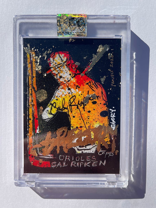 1982 Cal Ripken by Gregory Siff  - 18K Gold Leaf Autograph