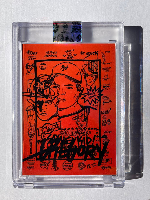 1952 Willie Mays by Gregory Siff- Matte Black Autograph