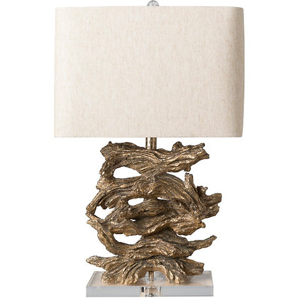 Gold Wood Table Lamp
