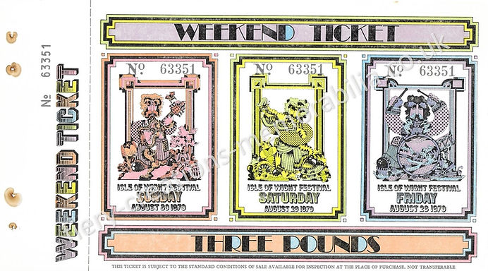 Isle of Wight Festival 1979 Weekend Ticket Memorabilia Hendrix The Who The Doors