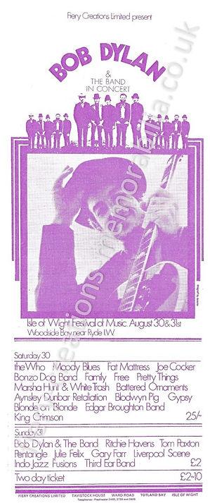 Isle of Wight Festival 1969 Flyer Memorabilia Bob Dylan