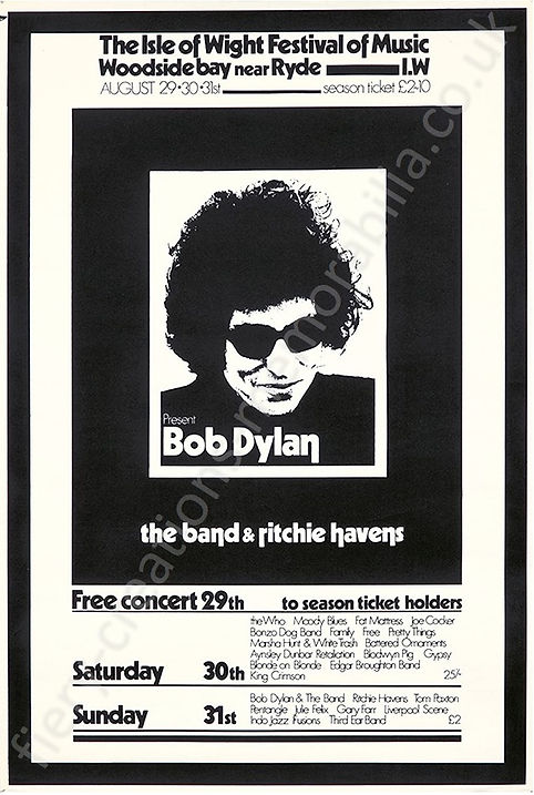 Isle of Wight Festival 1969 Poster Bob Dylan The Who