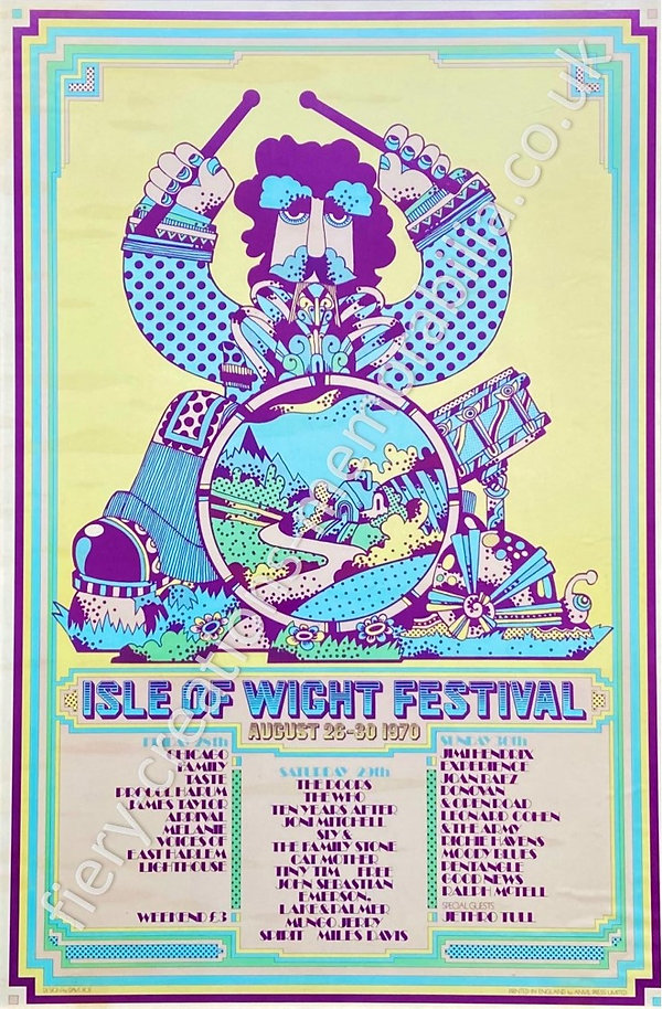 Isle of Wight Festival 1970 Poster Memorabilia Drummer Boy Hendrix The Who The Doors