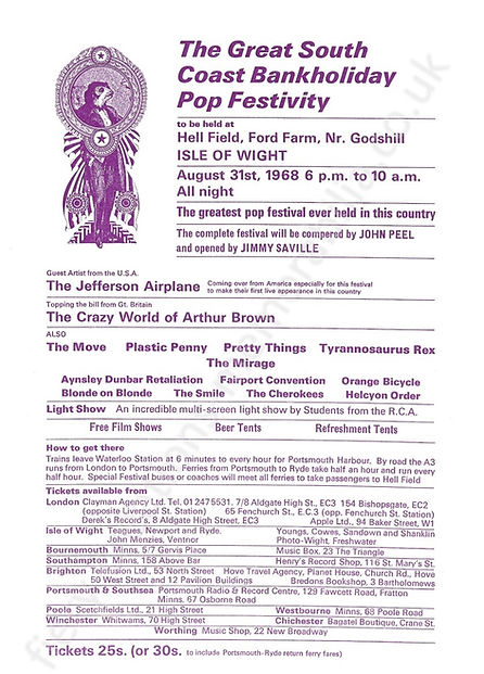 Isle of Wight Festival 1968 Flyer Memorabilia