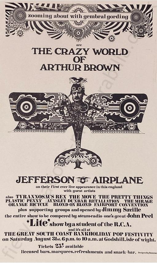 Isle of Wight Festival 1968 Poster Memorabilia Gembral Gording