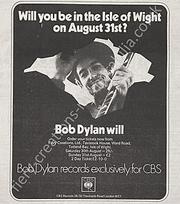 Isle of Wight Festival 1969 Bob Dylan Press Cutting