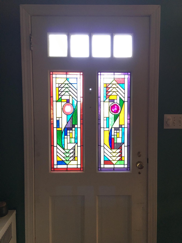 Stained Gl Panels In Front Door