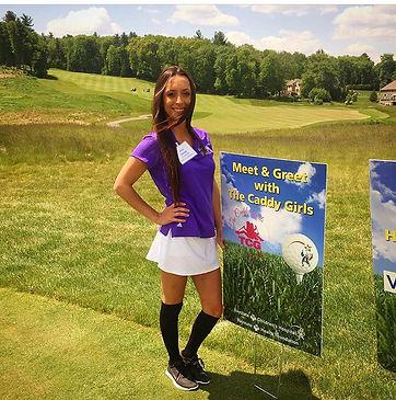 erica, golf, golf caddy, caddy, volunteer, charity, organization, event