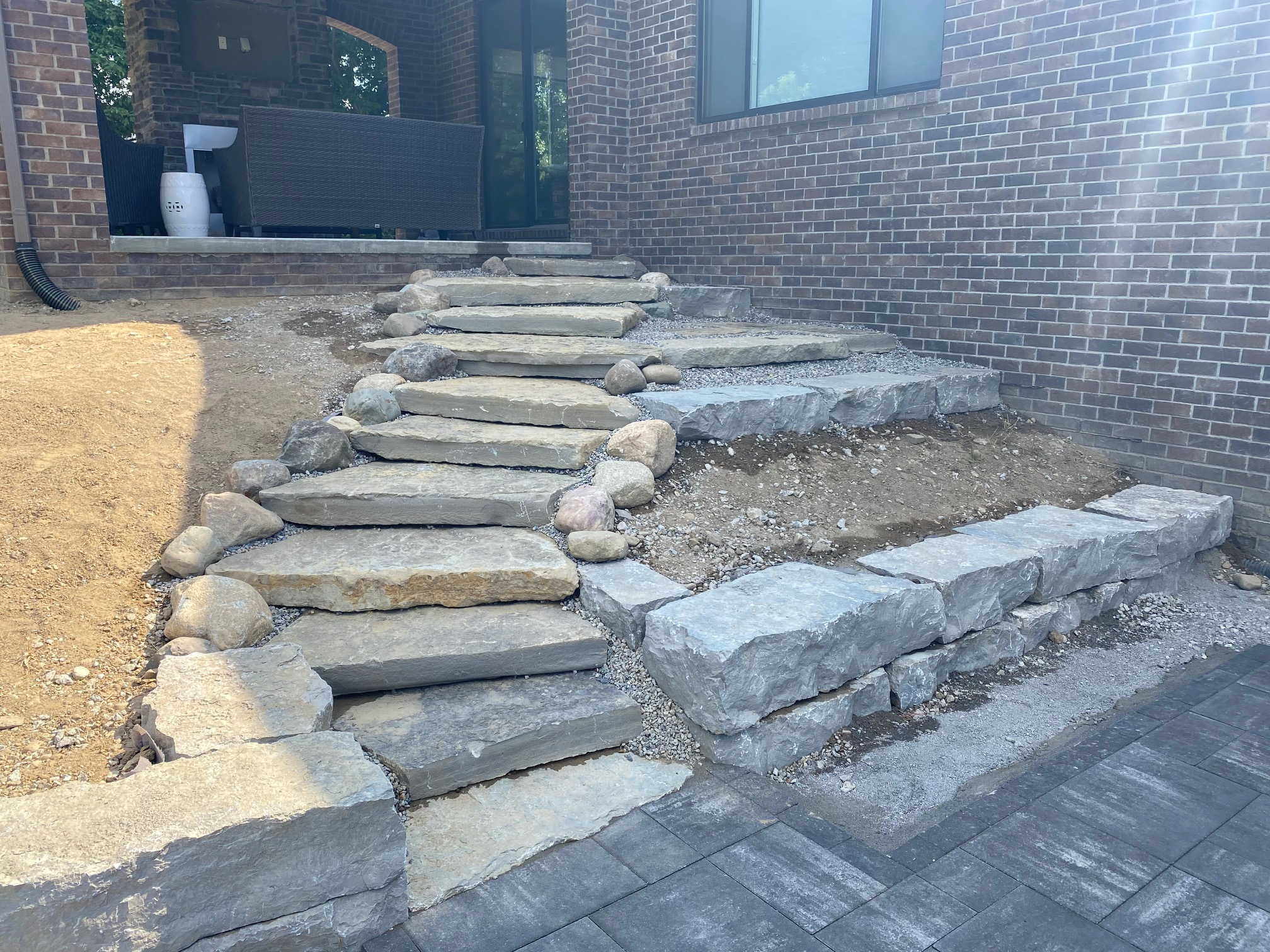 Ledge Rock Stairs & Retaining Wall
