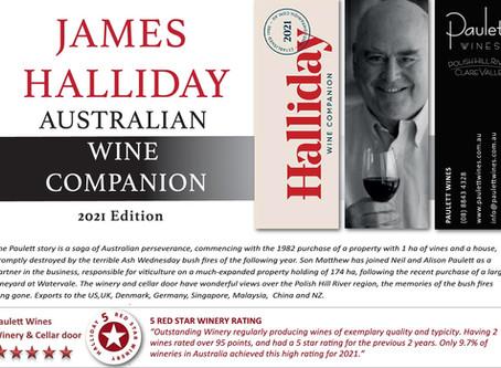 PAULETT WINES - Halliday 5 Red Star Winery Rating