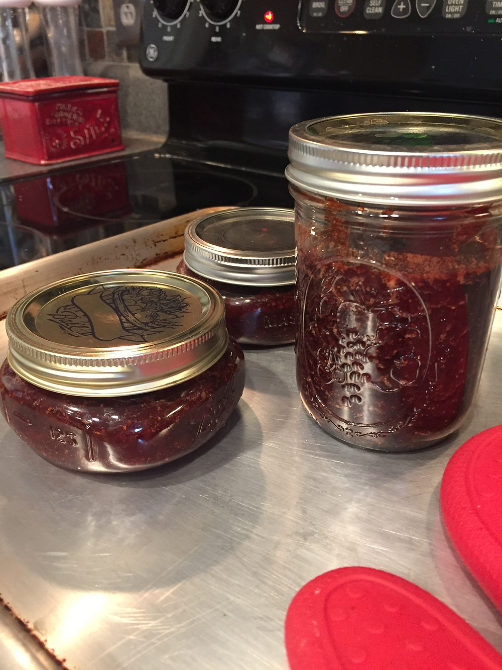 My first (successful) batch of strawberry jam!