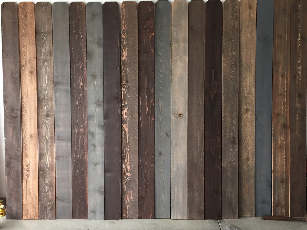 The different variations and textures of the stained wood slats