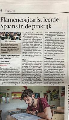 Gitaardocent in het Eindhovens Dagblad.j