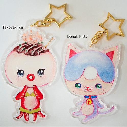 Key chain set(Takoyaki and Donut)