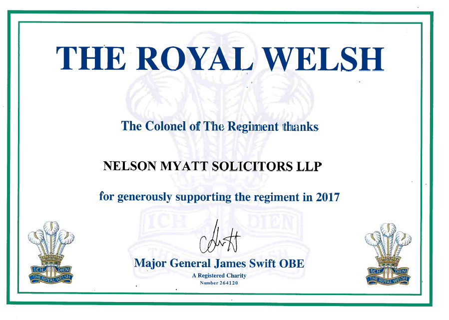 As a former serving member of the Royal Welsh, Andrew Nelson is proud to give something back by means of sponsorship