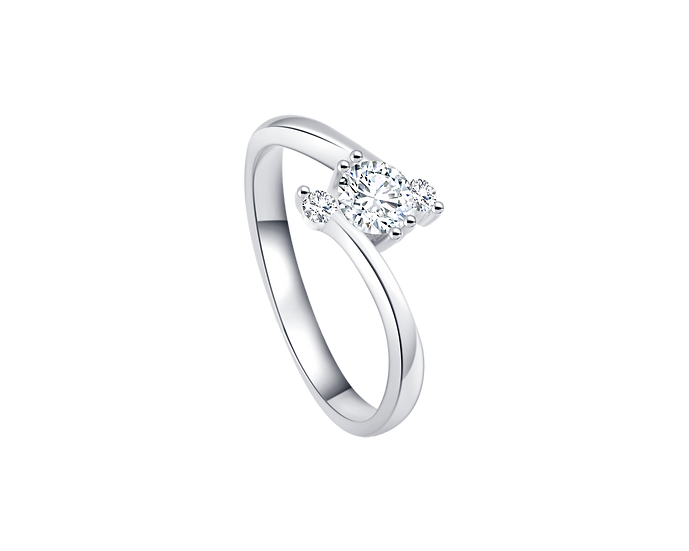 .20 CT Diamond Bypass Engagement Ring with Diamond Accent .075 CT TW